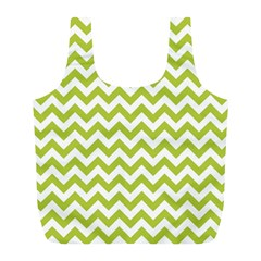 Spring Green & White Zigzag Pattern Full Print Recycle Bag (l)