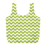 Spring Green & White Zigzag Pattern Full Print Recycle Bag (L) Back
