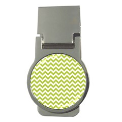 Spring Green & White Zigzag Pattern Money Clip (round) by Zandiepants