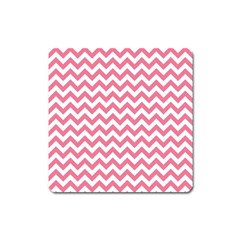 Soft Pink & White Zigzag Pattern Magnet (square) by Zandiepants