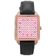 Soft Pink & White Zigzag Pattern Rose Gold Leather Watch  by Zandiepants