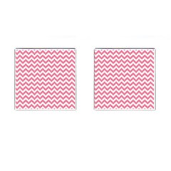 Soft Pink & White Zigzag Pattern Cufflinks (square) by Zandiepants