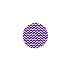 Royal Purple & White Zigzag Pattern 1  Mini Button by Zandiepants