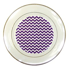 Royal Purple & White Zigzag Pattern Porcelain Plate by Zandiepants