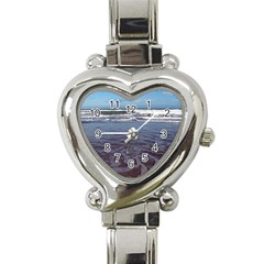 Ocean Surf Beach Waves Heart Italian Charm Watch by CrypticFragmentsColors
