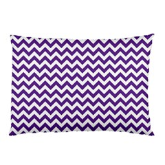 Royal Purple & White Zigzag Pattern Pillow Case (two Sides) by Zandiepants