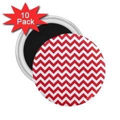Poppy Red & White Zigzag Pattern 2 25  Magnet (10 Pack)