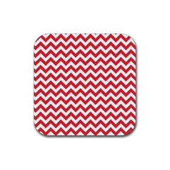 Poppy Red & White Zigzag Pattern Rubber Coaster (square)