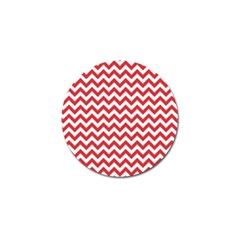 Poppy Red & White Zigzag Pattern Golf Ball Marker (10 Pack) by Zandiepants