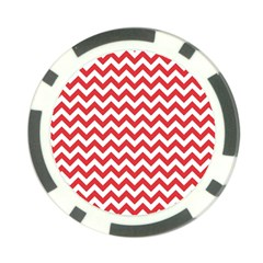 Poppy Red & White Zigzag Pattern Poker Chip Card Guard (10 Pack)