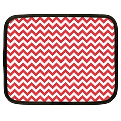 Poppy Red & White Zigzag Pattern Netbook Case (xl)