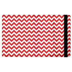 Poppy Red & White Zigzag Pattern Apple Ipad 3/4 Flip Case