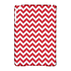 Poppy Red & White Zigzag Pattern Apple Ipad Mini Hardshell Case (compatible With Smart Cover)