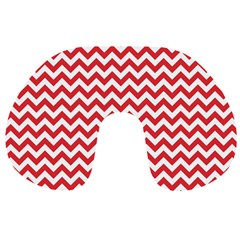 Poppy Red & White Zigzag Pattern Travel Neck Pillow