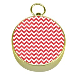 Poppy Red & White Zigzag Pattern Gold Compass by Zandiepants