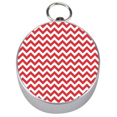 Poppy Red & White Zigzag Pattern Silver Compass by Zandiepants