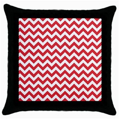 Poppy Red & White Zigzag Pattern Throw Pillow Case (black)
