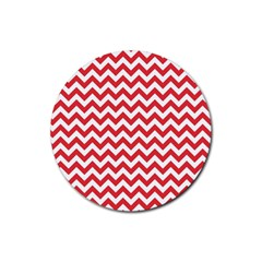 Poppy Red & White Zigzag Pattern Rubber Round Coaster (4 Pack) by Zandiepants