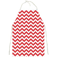 Poppy Red & White Zigzag Pattern Full Print Apron by Zandiepants
