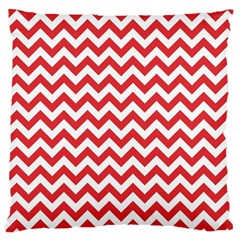 Poppy Red & White Zigzag Pattern Large Cushion Case (two Sides)