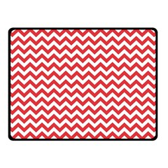 Poppy Red & White Zigzag Pattern Double Sided Fleece Blanket (small)