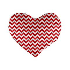 Poppy Red & White Zigzag Pattern Standard 16  Premium Flano Heart Shape Cushion