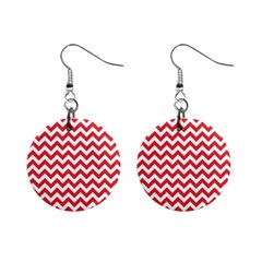 Poppy Red & White Zigzag Pattern 1  Button Earrings by Zandiepants