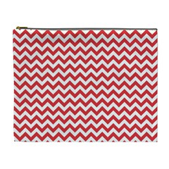 Poppy Red & White Zigzag Pattern Cosmetic Bag (xl)