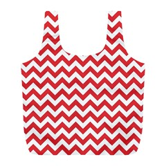 Poppy Red & White Zigzag Pattern Full Print Recycle Bag (l)
