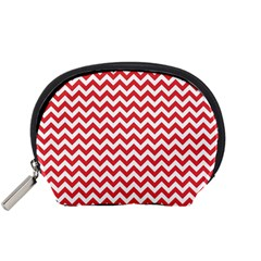Poppy Red & White Zigzag Pattern Accessory Pouch (small)