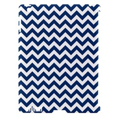 Navy Blue & White Zigzag Pattern Apple Ipad 3/4 Hardshell Case (compatible With Smart Cover) by Zandiepants