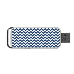 Navy Blue & White Zigzag Pattern Portable Usb Flash (two Sides) by Zandiepants