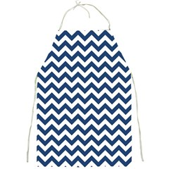 Navy Blue & White Zigzag Pattern Full Print Apron by Zandiepants