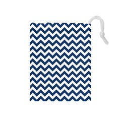 Navy Blue & White Zigzag Pattern Drawstring Pouch (medium) by Zandiepants