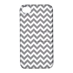 Medium Grey & White Zigzag Pattern Apple Iphone 4/4s Hardshell Case With Stand by Zandiepants