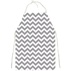 Medium Grey & White Zigzag Pattern Full Print Apron by Zandiepants