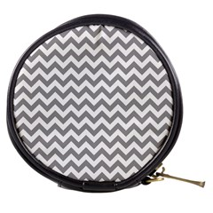 Medium Grey & White Zigzag Pattern Mini Makeup Bag by Zandiepants