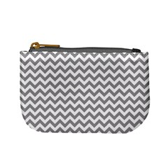 Medium Grey & White Zigzag Pattern Mini Coin Purse by Zandiepants