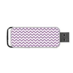 Lilac Purple & White Zigzag Pattern Portable Usb Flash (one Side)