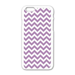 Lilac Purple & White Zigzag Pattern Apple Iphone 6/6s White Enamel Case by Zandiepants