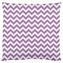 Lilac Purple & White Zigzag Pattern Large Cushion Case (one Side) by Zandiepants
