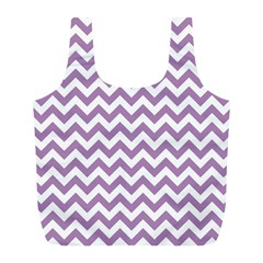 Lilac Purple & White Zigzag Pattern Full Print Recycle Bag (l) by Zandiepants