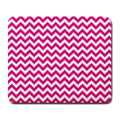 Hot Pink & White Zigzag Pattern Large Mousepad by Zandiepants