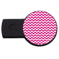 Hot Pink & White Zigzag Pattern Usb Flash Drive Round (4 Gb) by Zandiepants