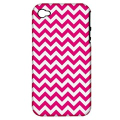 Hot Pink & White Zigzag Pattern Apple Iphone 4/4s Hardshell Case (pc+silicone) by Zandiepants