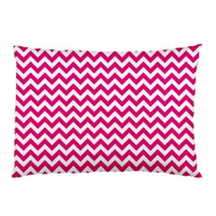 Hot Pink & White Zigzag Pattern Pillow Case (two Sides) by Zandiepants