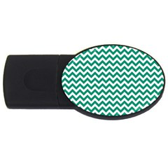 Emerald Green & White Zigzag Pattern Usb Flash Drive Oval (4 Gb) by Zandiepants