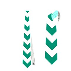 Emerald Green & White Zigzag Pattern Necktie (one Side) by Zandiepants