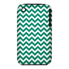 Emerald Green & White Zigzag Pattern Apple Iphone 3g/3gs Hardshell Case (pc+silicone)