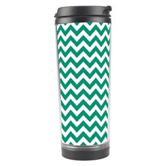 Emerald Green & White Zigzag Pattern Travel Tumbler by Zandiepants
